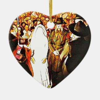 Hassidic Wedding Ceramic Heart Ornament