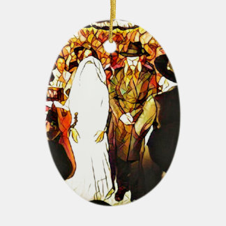 Hassidic Wedding Ceramic Oval Ornament