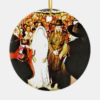 Hassidic Wedding Round Ceramic Ornament