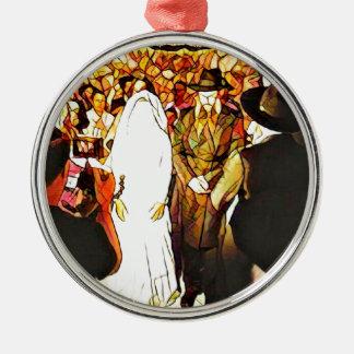 Hassidic Wedding Silver-Colored Round Ornament