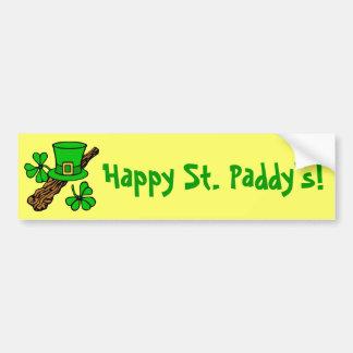 Hat And Shamrocks St. Patrick's Bumper Sticker