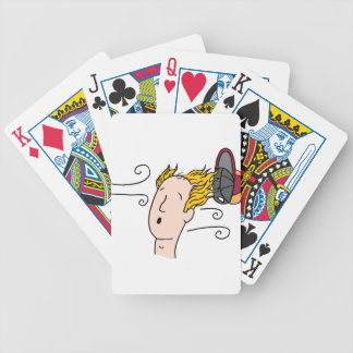hat blown off of balding man bicycle playing cards
