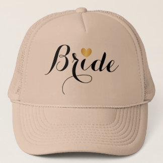 Hat - Bride Script Heart Tan