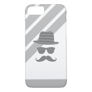 Hat, glasses, mustache, man - black and  gray. iPhone 8/7 case