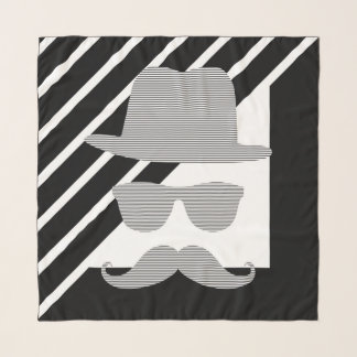 Hat, glasses, mustache, man - black and  gray. scarf