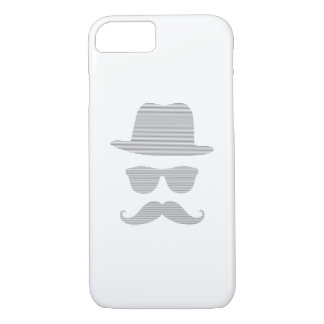 Hat, glasses, mustache, man - strips,  gray. iPhone 8/7 case
