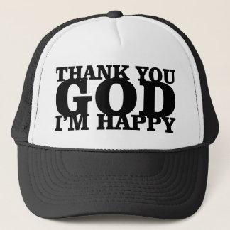 hat-thank you god im happy trucker hat