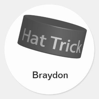 Hat Trick Puck Round Sticker
