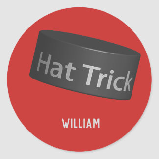 Hat Trick Puck with name Classic Round Sticker