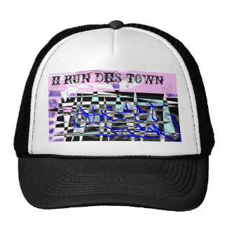 """hat with """"ii rUn diS tOWN"""" and drawing"""