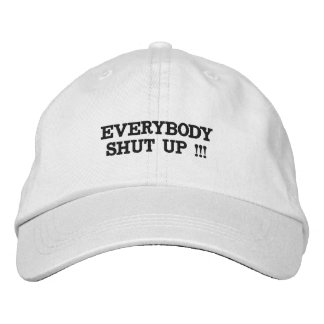 Hat with words on it.