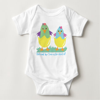 Hatched by two cute chicks baby bodysuit