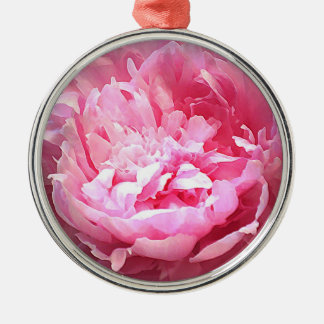 Hatched Pink Peony Metal Ornament