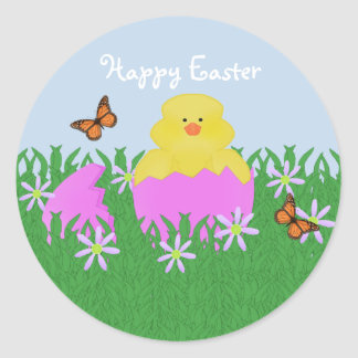 Hatching Baby Duck Happy Easter Stickers