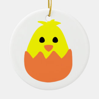 Hatching Easter Chick Ceramic Ornament