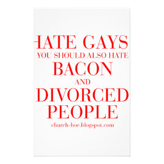 Hate gays you should also hate bacon and divorced custom stationery