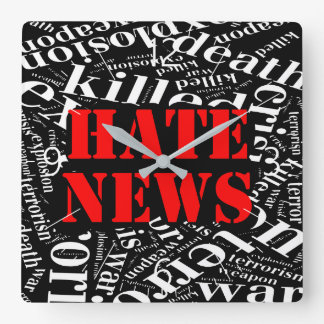 Hate news square wall clock