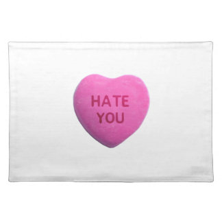 Hate You Pink Candy Heart Place Mat