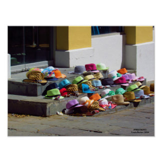 Hats For Sale On Street Poster
