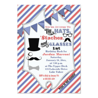 Hats, Mustaches, and Glasses 1st Birthday Invite
