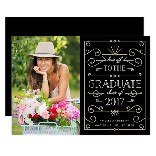 Hats Off Graduation Party Photo Invitation