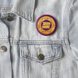 Hattori clan kamon in faux gold on purple 2 inch round button