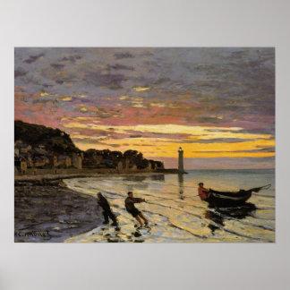Hauling a Boat Ashore, Honfleur Poster