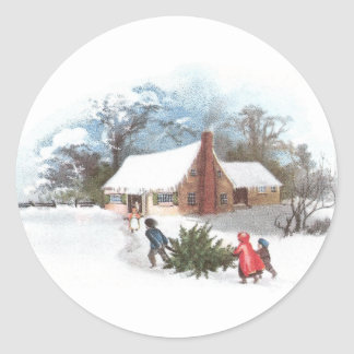 Hauling the Tree Home Vintage Christmas Round Sticker