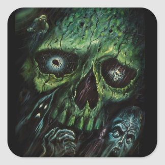 Haunted Attraction Skulls Ghosts Vintage Square Sticker