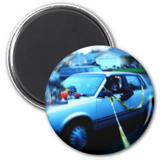 Haunted Car 2 Inch Round Magnet