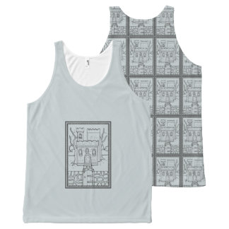 Haunted Castle Black Line Art Design All-Over-Print Tank Top
