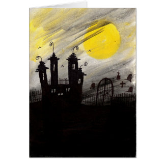 Haunted Cemetary Watercolor Halloween Card