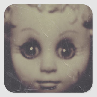 haunted doll gift wrap square sticker