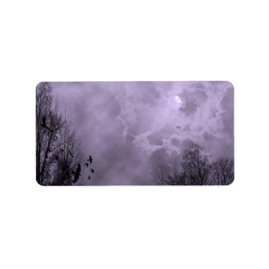 Haunted Full Moon Purple Mist Label Template