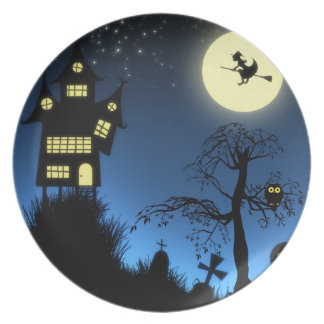 Haunted Grave Yard Halloween Party Plate