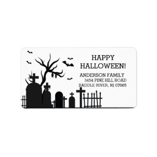 Haunted Graveyard Happy Halloween Return Address Label