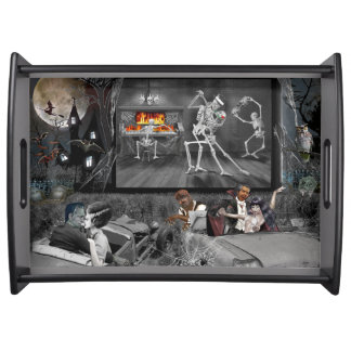 Haunted Halloween Drive-in Serving Tray