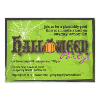 Haunted Halloween Party Invitation Black & Green