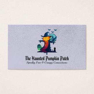 Haunted Halloween Pumpkin Head Scarecrow Spooky Business Card