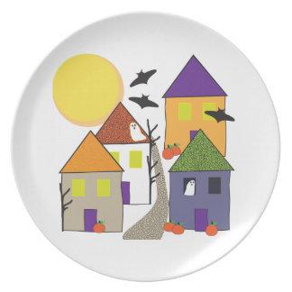 Haunted Halloween Village Cookie Plate