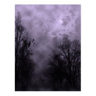 Haunted Halloween Violet Mist Sky with Ravens Postcard