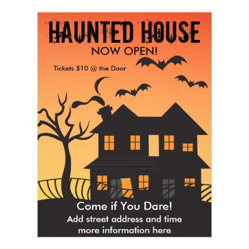 Haunted House and Bats Custom Flyer
