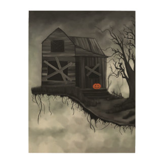 Haunted House and Jolly Pumpkin Wood Wall Art