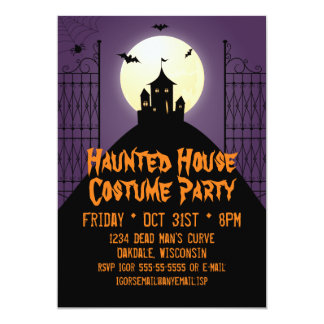 Haunted House Costume Party Halloween Card