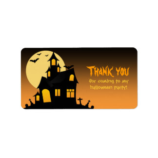 Haunted House Halloween Favor Tag Address Label