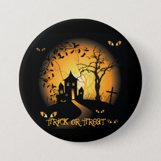 Haunted House Halloween Large, 3 Inch Round Button