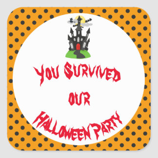 Haunted House Halloween Party Square Sticker