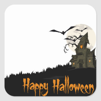 Haunted House Halloween Square Sticker
