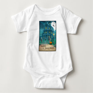 Haunted House Happy Halloween-witch, pumpkin, owl Baby Bodysuit