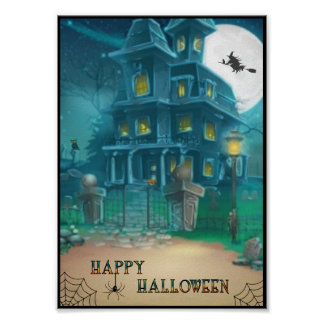 Haunted House Happy Halloween-witch, pumpkin, owl Poster